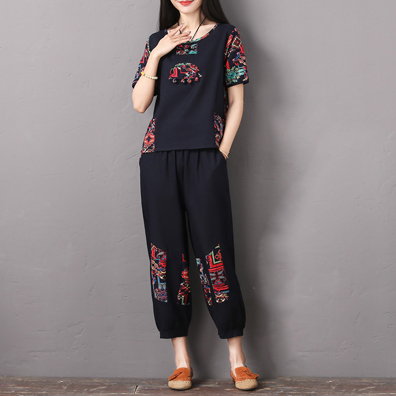 Photo Shoot 2019 Summer New Style Ethnic-Style Cotton Linen Set Loose-Fit Middle-aged Women Dress Casual Two-Piece Set