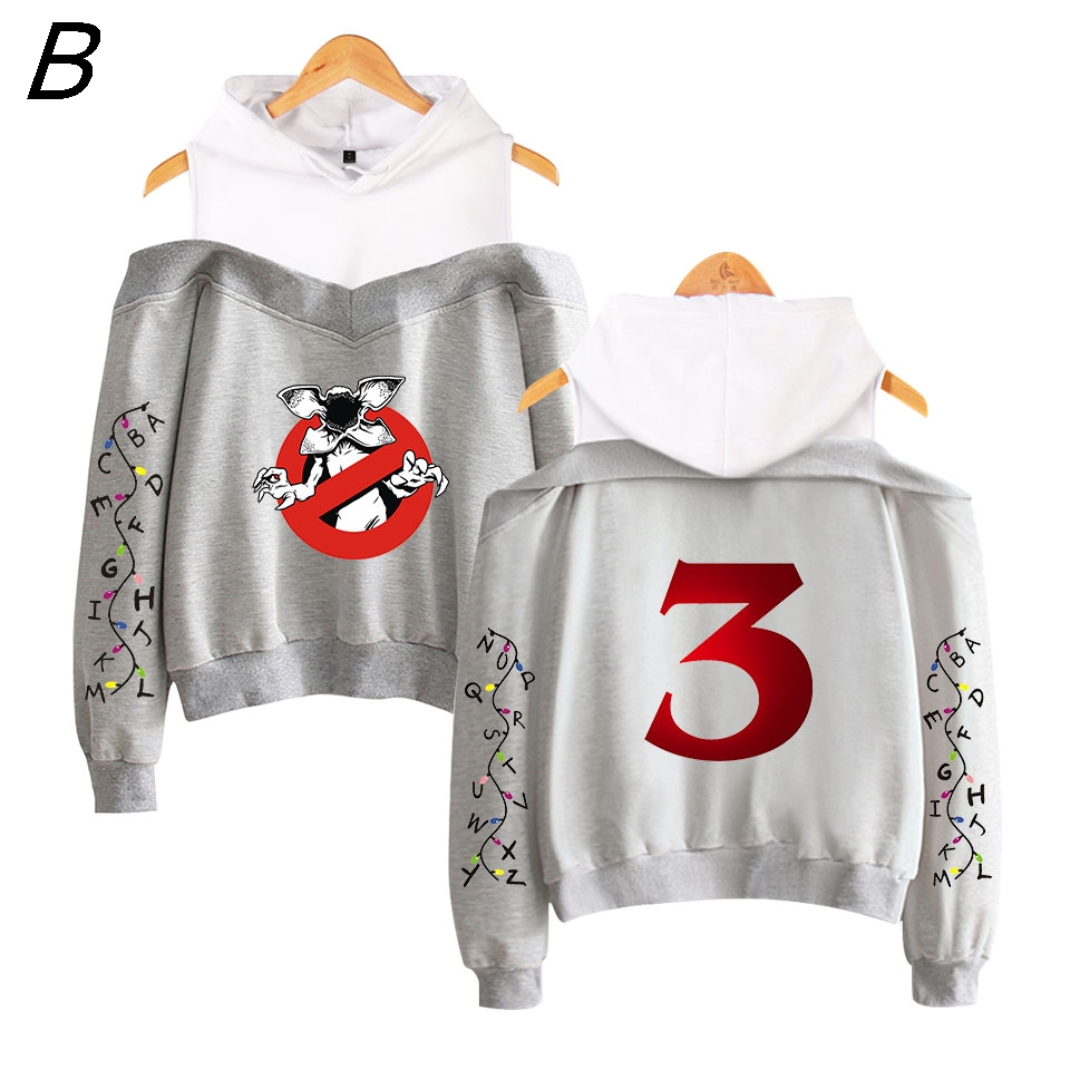 Stranger Things 3 Sexy Demogorgon Hoodie Sweatshirt  Sexy Vrouwen Cosplay Fans Gedrukt Fleece Strapless Shoulder Sweatshirt