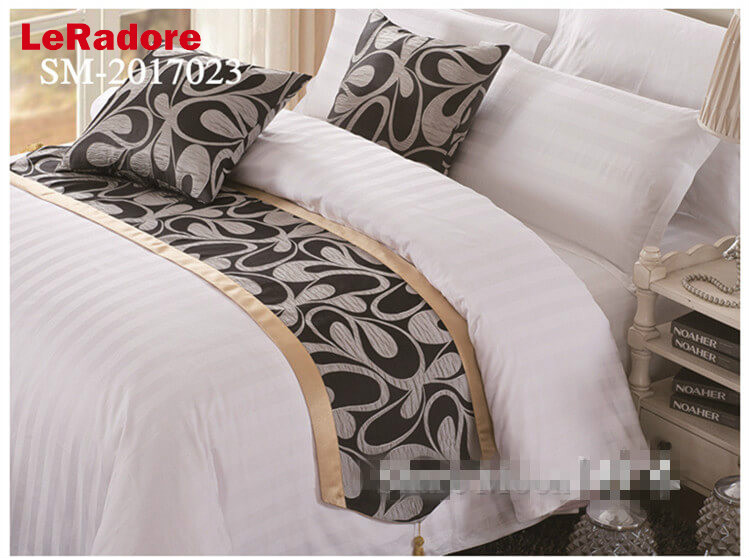 LeRadoreCustomLuxury Double Layer Bed Runner Scarf Motel Hotel Home Bedding Bed Tail Towel Hotel 20in*102in Manufacturer On Sale
