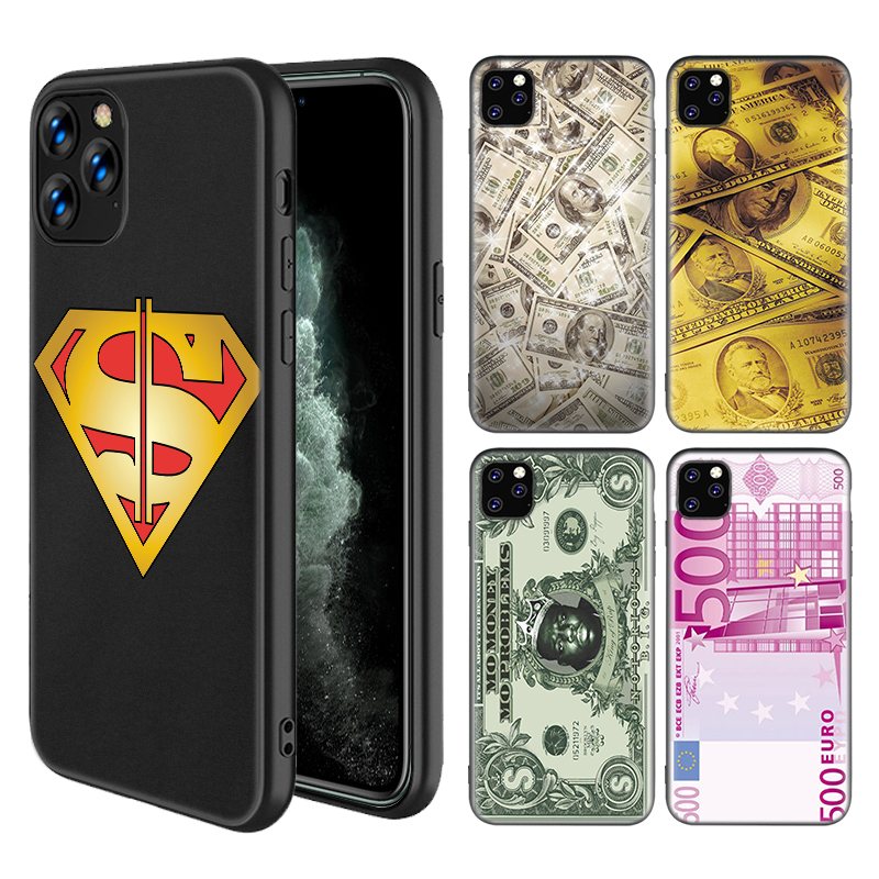 us Big Money 100 <font><b>Dollars</b></font> Case for iPhone 11 Pro X XS MAX XR 7 8 6 6S Plus <font><b>5</b></font> 5S SE Black Silicone Housing <font><b>Phone</b></font> Coque Cover image