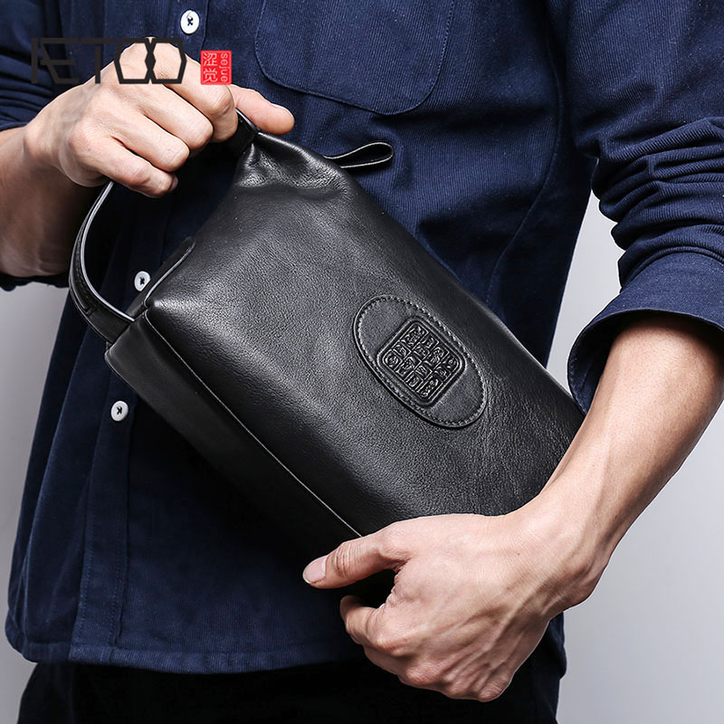AETOO Handbag Male Genuine Leather Retro Large Day Clutch  Men's Head Cowhide Business Clutch Men Mobile Phone Bag