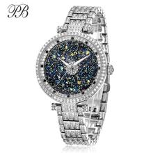 女性時計 レディース星空ラインストーンシルバーレディース時計クリスタル防水クォーツ高級ブランド PB