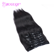 BUGUQI Hair Clip In Human Extensions Mongolian Natural Black Remy 16-26 Inch 100g Machine Made