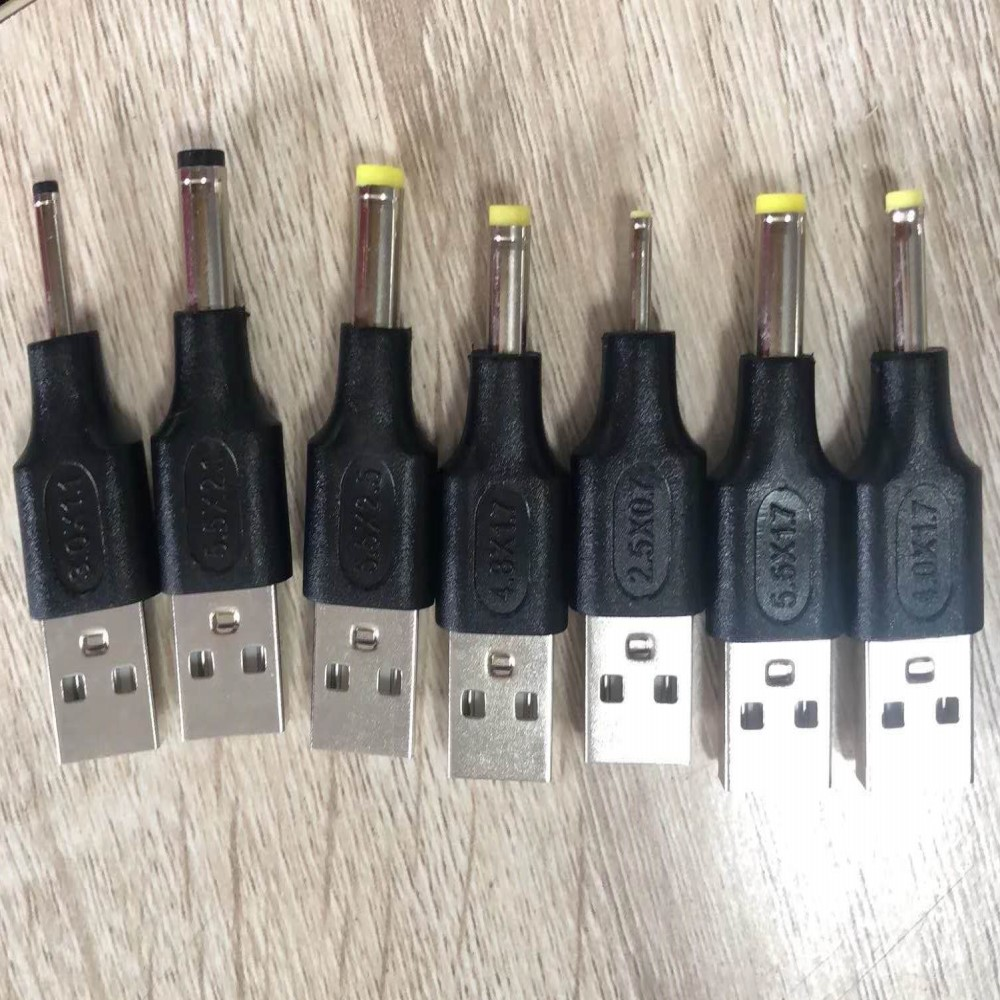 usb2.0 male to DC Male 3.3*1.1,5.5*2.1,5.5*<font><b>2.5</b></font>,4.8*1.7,<font><b>2.5</b></font>*<font><b>0.7</b></font>,5.5*1.7,4.0*1.7 Adapter <font><b>Connector</b></font> for pc power image