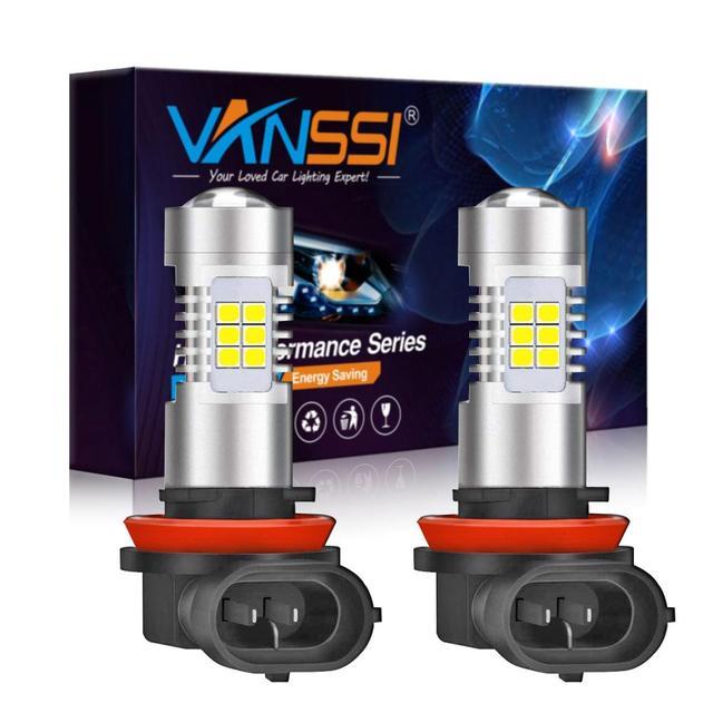 VANSSI 2 Chiếc H8 H11 Đèn LED Sương Mù Bóng Đèn 6000K Trắng HB4 9006 H10 9145 H16 Bóng Đèn LED Ô Tô đèn Bảo Hành 1 Năm