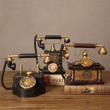 Vintage decoração de casa telefone modelo do vintage europeu retro rotativo dial telefone conjunto artesanal velho ferro telefone adereços