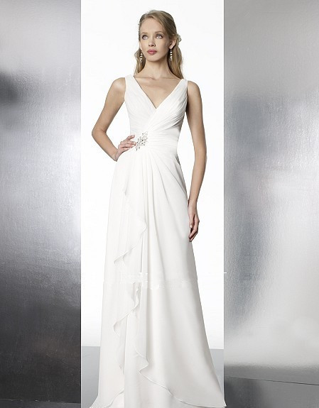 Free Shipping Chiffon A-line Features Deep V-neckline Drop Waist Beading Zipper Closure Custom Bridal Gown Bridesmaid Dresses
