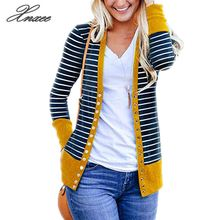 Autumn Winter Striped Cardigans 2019 Sweater Women Knitting Cardigan Long Sleeve V Neck Casual Female Coat Plus Size цена в Москве и Питере