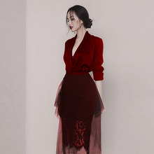 formal dress women elegant mesh dress red dress temperament dress Two-piece dress Two-piece dress v neck dress v neck dress(China)
