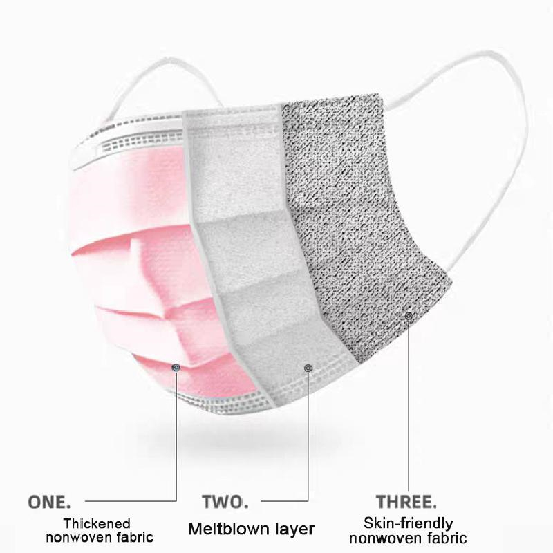 Pink-Disposable-surgical-mask-Non-woven-3-layer-medicial-Face-Mask-Breathable-Mask-Elastic-Earband-Breathable (1)