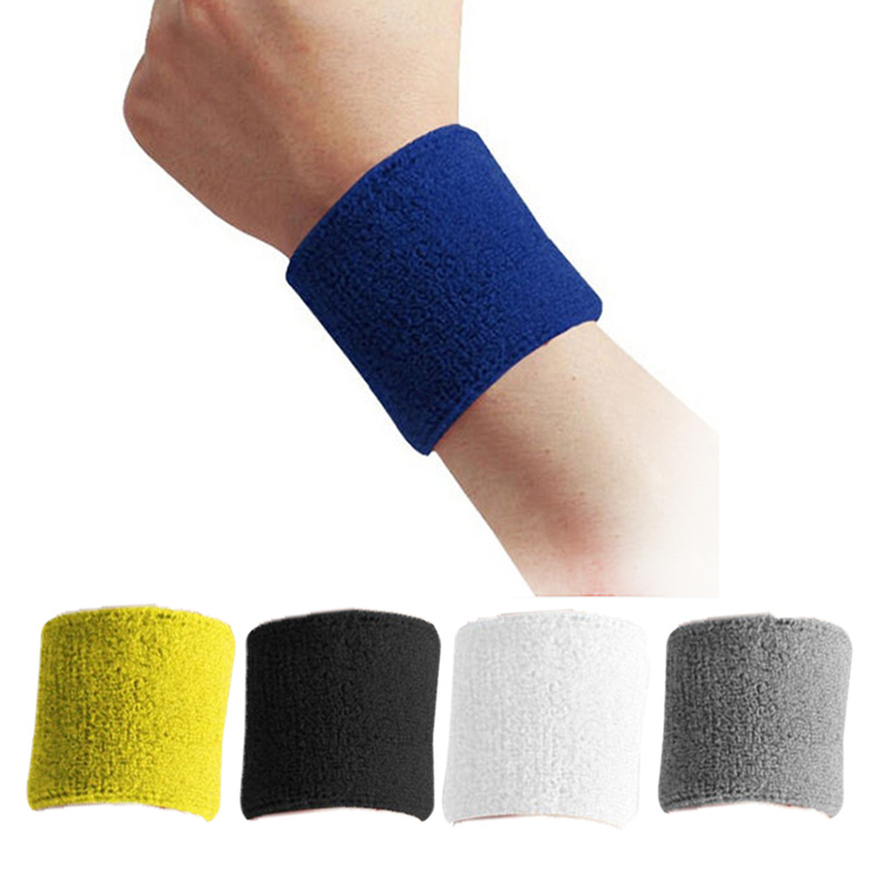 2 Pcs Cloth Wristbands Sport Sweatband Hand Band Sweat Wrist Support Brace Wraps Guards For Gym Volleyball Basketball Safety|Wrist Support| |  - title=