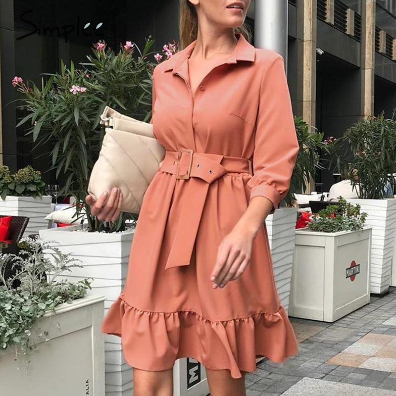 Simplee Ruffled Women Dress Spring Three Quarter Sleeve Belt Solid Ladies Office Dress Retro O-neck Female A-line Summer Dress
