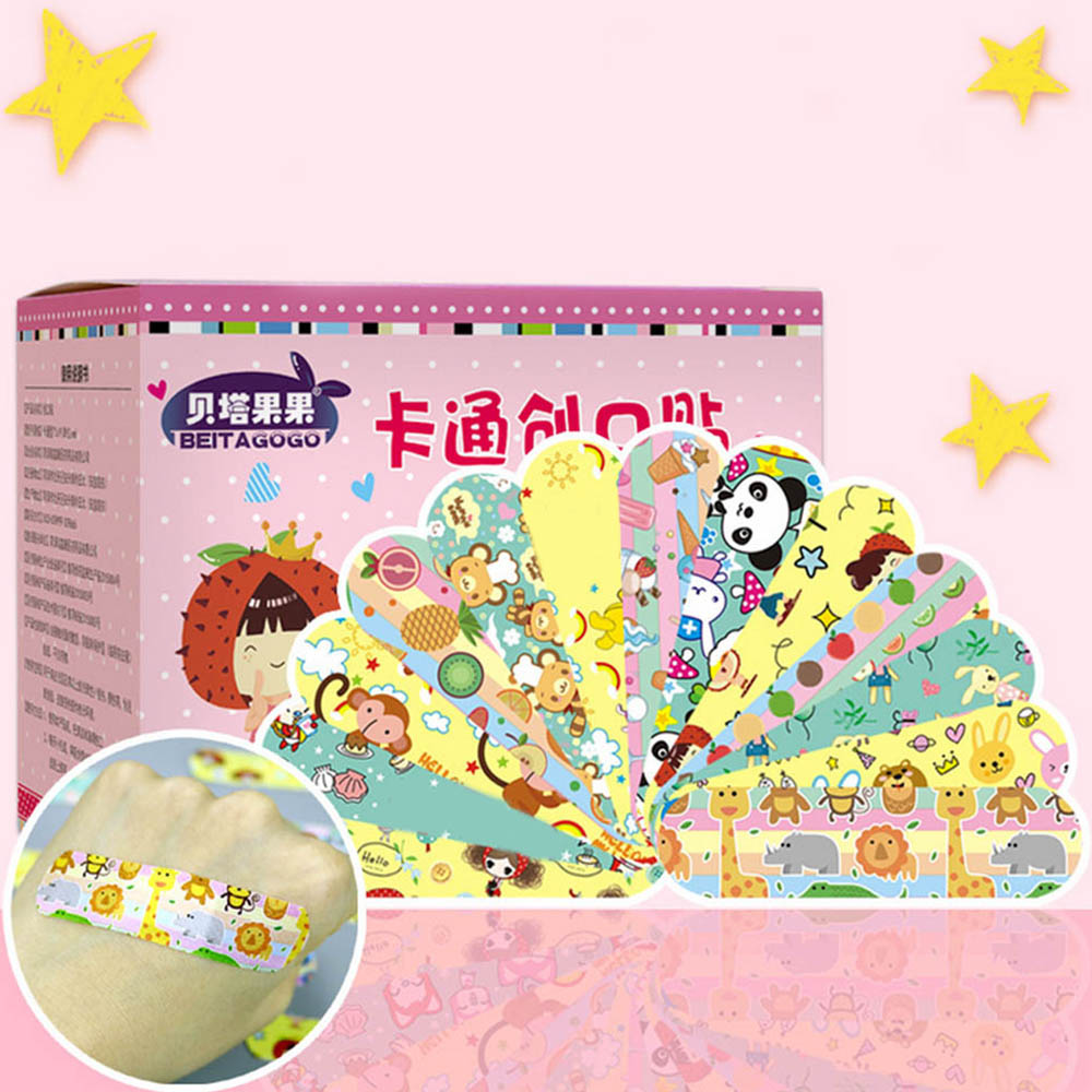 120pcs Cute Cartoon Bandages Print Waterproof Breathable Adhesive Bandages Band Aid Sterile Stickers For Kids Toddler Protection
