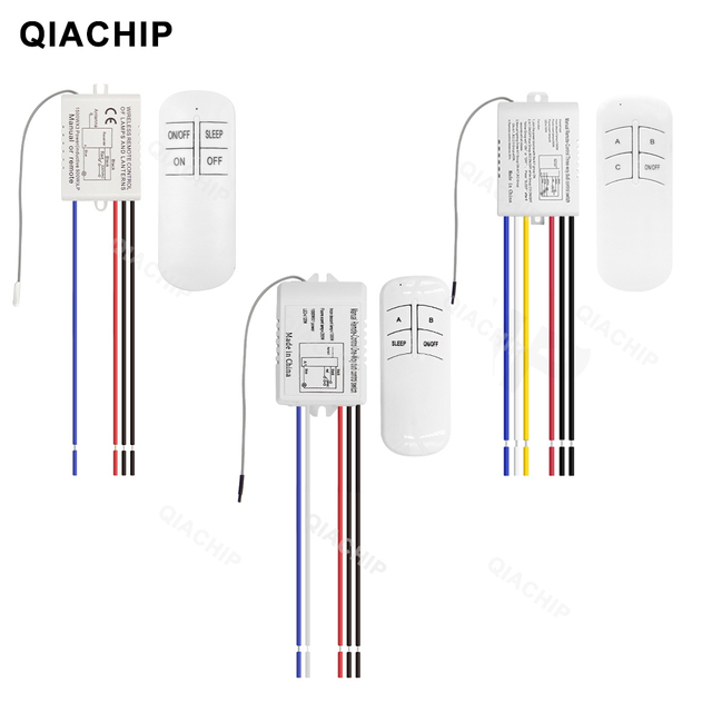 QIACHIP 무선 원격 제어 라이트 스위치 220V 수신기 송신기 ON/OFF 디지털 1/2/3 웨이 벽 원격 제어 스위치 램프