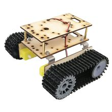 Double Layer Wooden Tracked Tank Chassis TT Motor 3-9V  Intelligent Car Tool DIY R9UE doit rc tank chassis crawler intelligent barrowload tractor obstacle caterpillar wall e infrared ultrasonic patrol diy