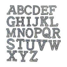 26Pcs A-Z Brief Perlen Strass Alphabet Applique 3D Nähen Eisen-Auf DIY Patches