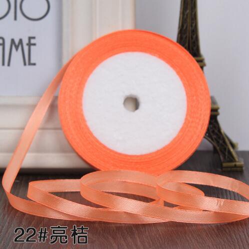 """22 метра(25 ярдов) Шелковая атласная лента 1/""""(6 мм) вечерние украшения для дома, свадьбы, подарочная упаковка, материал для рукоделия на Рождество, год - Цвет: light orange"""