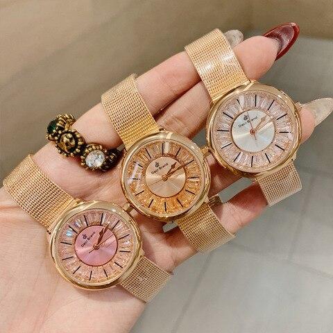 Todos os Diamantes Dacr Nova Moda Luxo Dial Relógio Feminino Ins Venda Quente Quartzo Diamante Pulseira Relógios Luz