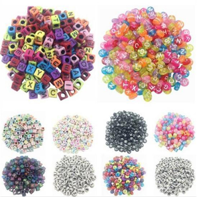 100 Pcs/Set Learning Toy Spacer Acrylic Beads Cube Alphabet Letter Bracelet  For Bracelet Necklace Jewelry Making DIY