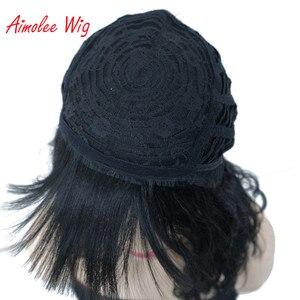 Image 5 - Aimolee frauen Medium länge Lockige Schwarze Perücke Natura Ordentlich Bang Stil Synthetische Perücken Haar