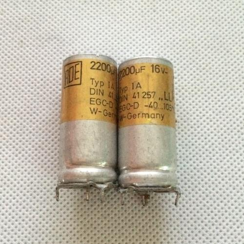 Original imported capacitor electronic roe din41257 series 16vdc <font><b>2200uf</b></font> gold <font><b>audio</b></font> filter electrolytic capacitor image