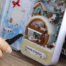 Doll house model toys role play elegant furnishing Snow and ice holiday home room children kids Iron Box Packaging