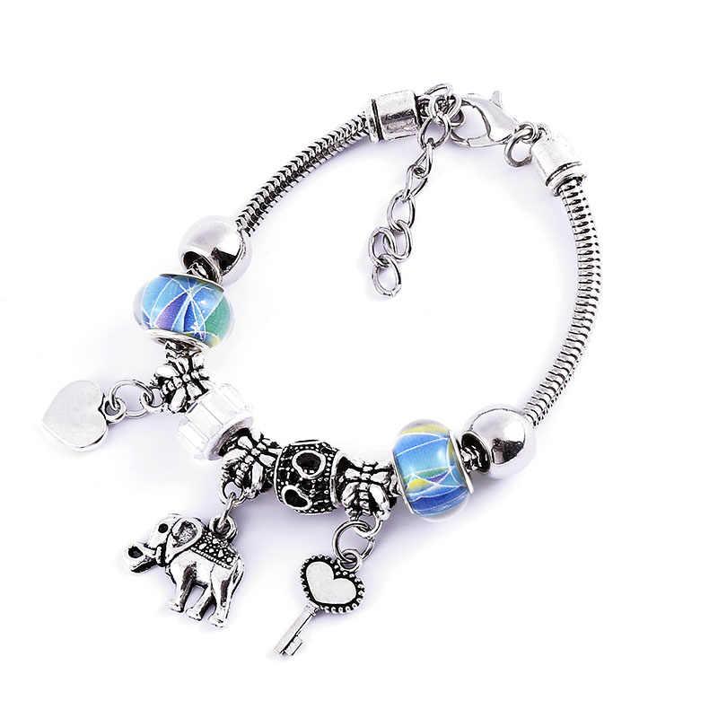 Цветные бусины исходные браслеты для женщин Регулируемый браслет в стиле бохо подвеска из нержавеющей стали ювелирные изделия оптом