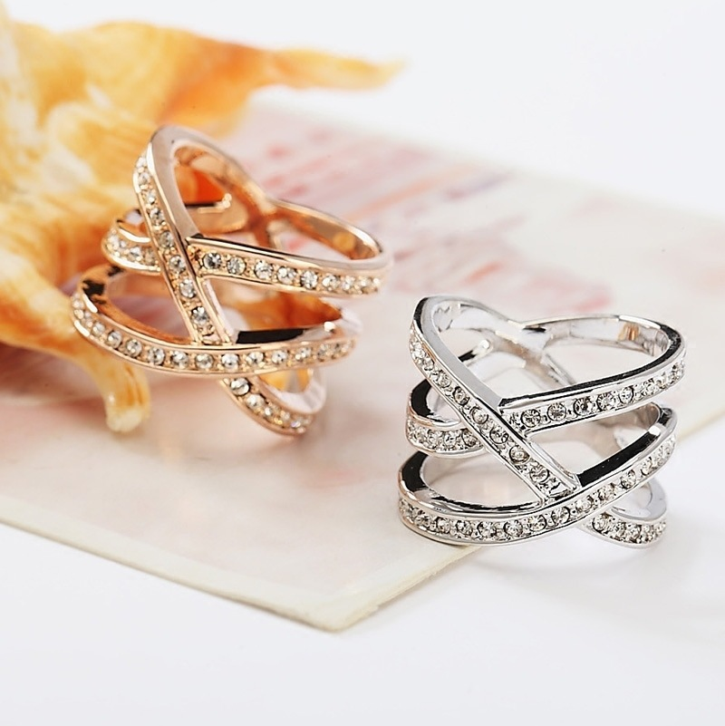 CHAMSS Japanese And Korean Version Of The Double Line Diamond Ring Personalized Minimalist Women Romantic Gift