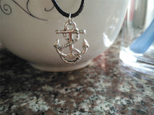 New Sideways Mens Navy beach Boat Hooks pendant leather Necklace Nautical amulet lucky Tiny Anchor charm jewelry