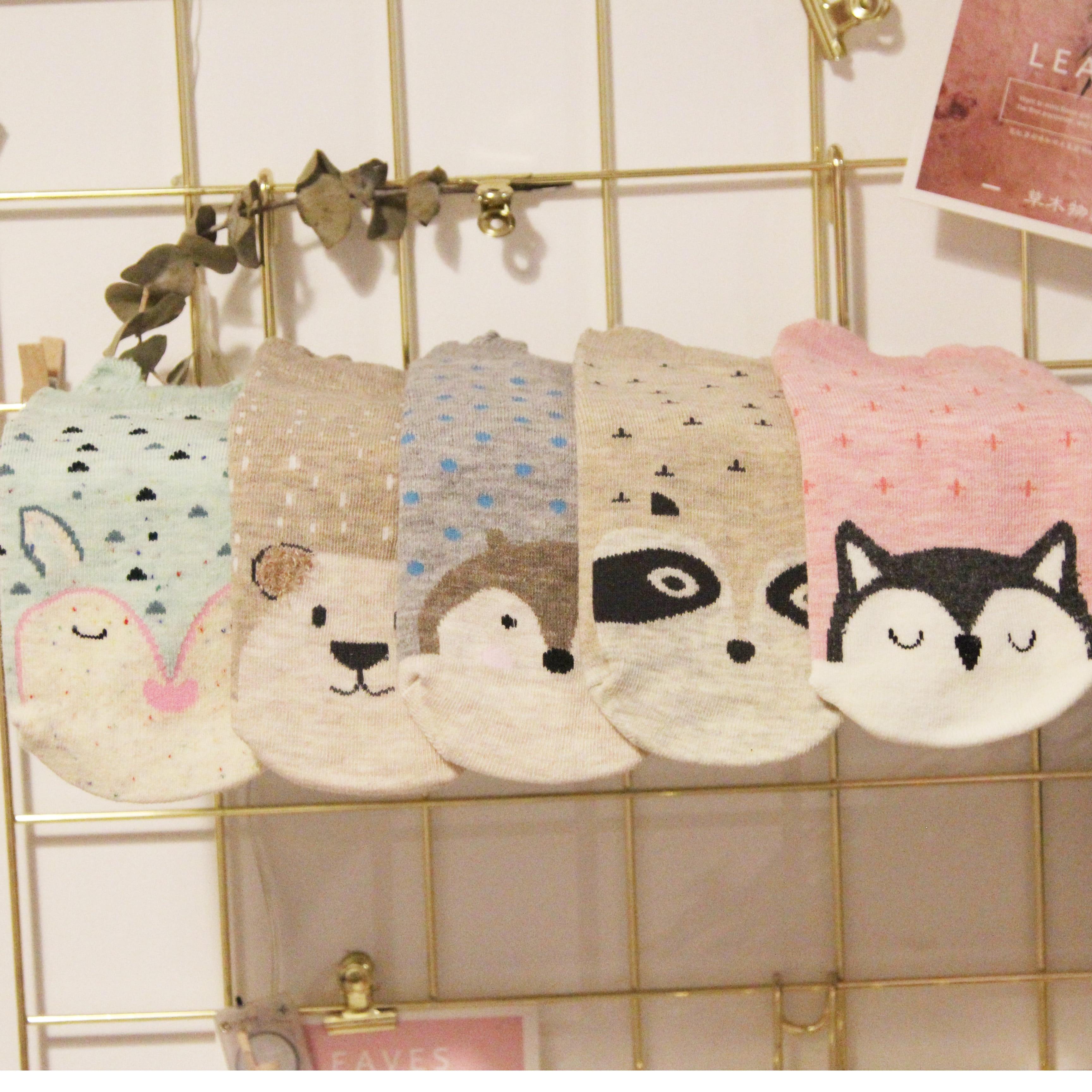 Big Sale Fox Cute Socks Cotton Animal Dots Cross Bear Pattern Owl Female Short Socks Comfortable Girls School Sock