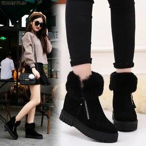 Image 1 - SWYIVY espadrilles décontractées femmes chaussures compensées femme bottes dhiver 2019 neige chaude plate forme femme chaussons court en peluche bottines femme
