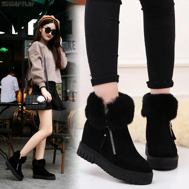 SWYIVY espadrilles décontractées femmes chaussures compensées femme bottes dhiver 2019 neige chaude plate forme femme chaussons court en peluche bottines femme