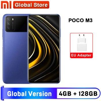 Перейти на Алиэкспресс и купить Глобальная версия POCO M3 4 ГБ 128 Гб Смартфон Snapdragon 662 6,53 дюймдисплей 6000 мАч аккумулятор 48MP камера
