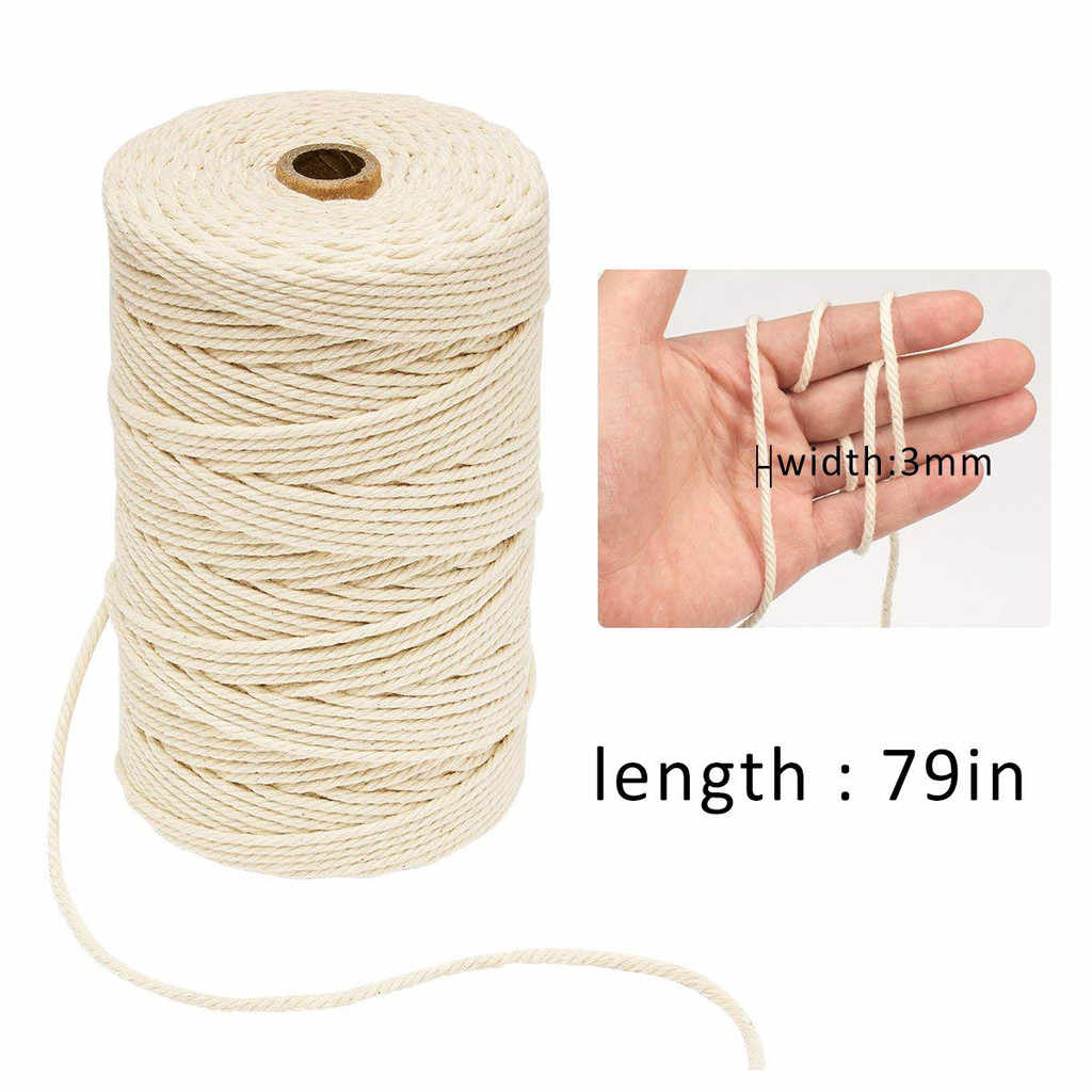 3mm x 200m Macrame Cotton Cord for Wall Hanging Dream Catcher DIY Lanyard Ficelles Couleurs Thread Cord #B5