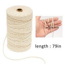 Cordón de algodón de macramé de 3mm x 200m para colgar en la pared, atrapasueños, artesanías, Couleurs, hilo # BL5