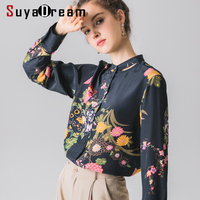SuyaDream Long Sleeved Women Floral Printed Blouses 100%Real Silk Stand Collar Office Lady Blouse Shirt 2019 Autumn Shirt