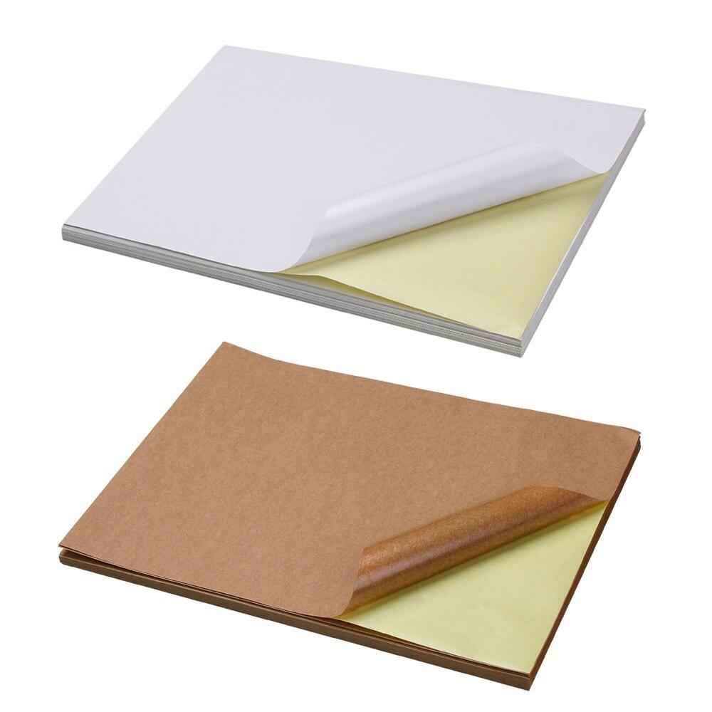 50 Sheets/lot A4 Blank Copy Paper For Office Kraft Matt Printable Self Adhesive Label Paper Laser Inkjet Printer Packaging Label