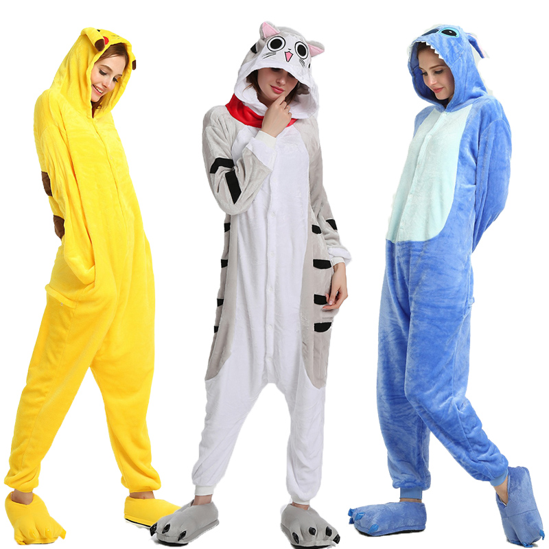 Adults Animal Unicorn Pajamas Cartoon Stitch Panda Kigurumi Women Men Costume Winter Unisex Flannel Overalls Unicornio Sleepwear