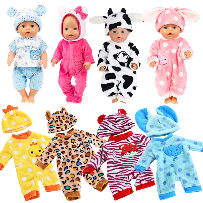 Baby Doll Clothes Fit For 40-45cm Baby Born Clothes Suit Unisex New Born Dolls Accessories Sleepwear Doll Outfit Set Doll Clothe