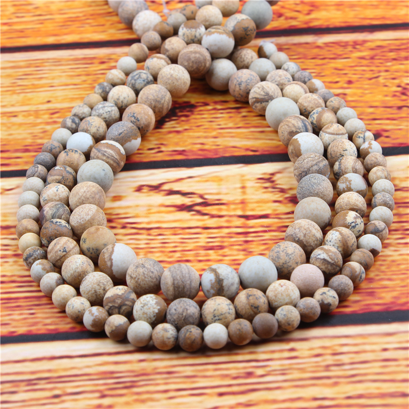 Picture Stone Natural Stone Bead Round Loose Spaced Beads 15 Inch Strand 4/6/8/10/12mm For Jewelry Making DIY Bracelet