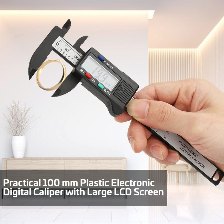 Calibre digital prático 100 mm plástico eletrônico digital paquímetro com grande tela lcd (sem bateria) digital micrômetro