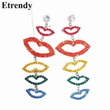 где купить 2014 new trendy rose rhinestone inset lip and lipstick stud earrings all match jewelry wholesale for woman free shipping по лучшей цене