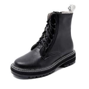 Image 5 - AIYUQI bottes femme 2020 en cuir véritable femmes chaussons à lacets blanc hiver femmes chaussures anti dérapant fille Martin bottes