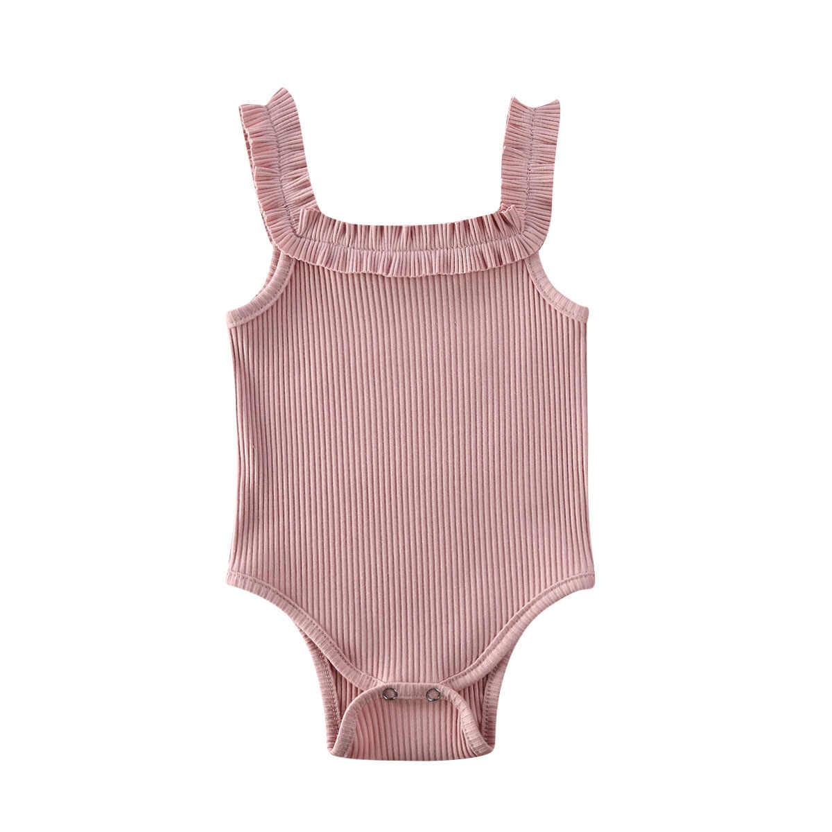 2020 Baby Summer Clothing Newbown Baby Girl Sleeveless Cotton Bodysuit Ribbed Ruffled Jumpsuits Solid Playsuits 3M-24M