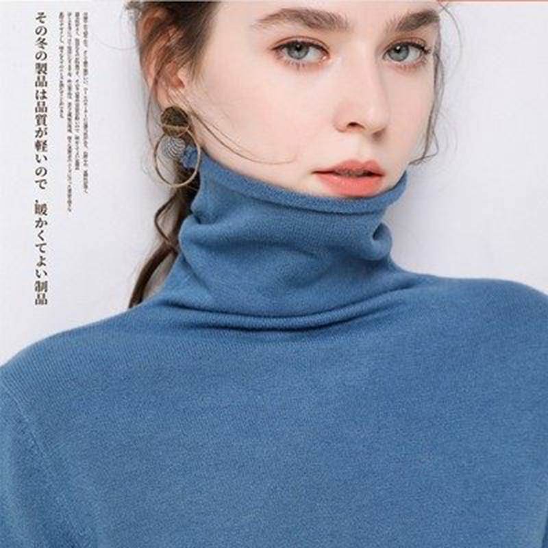 High Collar Cashmere Sweater Female 2019 Autumn And Winter New Knitted Pullover Sexy Pile Of Collar Women's Blue Loose Sweater