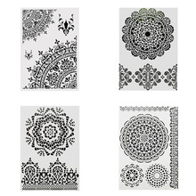 4PCS/PACK DIY Painting Reusable Mandala Design Stencil Templates For Wall Furniture Wood Fabric painting Decoration furniture for interior design