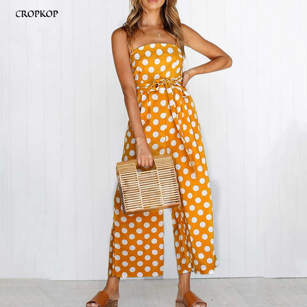 Black Romper Pants Women Wide Leg Jumpsuit Sexy Backless Polka-dot Summer Tops White One Piece Pantsuit Clothing 2020 Overalls