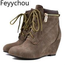 Botas de tacón alto con punta redonda para mujer, botines cálidos con cuña y cordones, color negro, marrón, 34 48 talla grande, para otoño e invierno, 2019