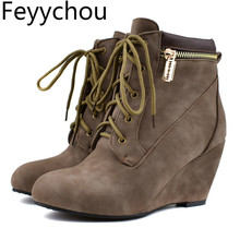 Women Boots High Heel Round Toe Lace Up Autumn Winter Warm Wedges Ankle Flock 2019 New Sexy Fashion Black Brown Big Size 34 48