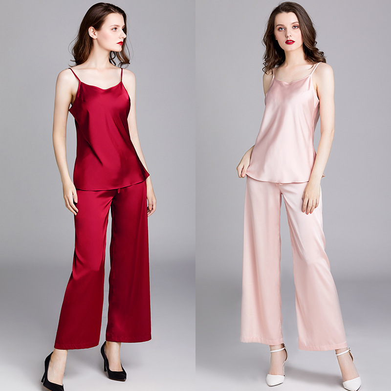 Yao Ting Spring And Summer Pajamas Women's Thin Silk Women's Camisole Pajamas Suit Elegant Sexy Tracksuit 1667